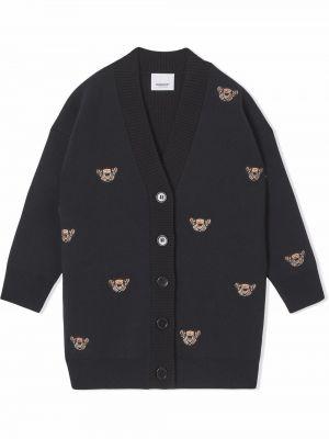 Czarny płaszcz wełniany Burberry Kids