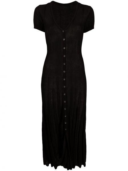 Z rękawami czarny sukienka midi zapinane na guziki Jacquemus