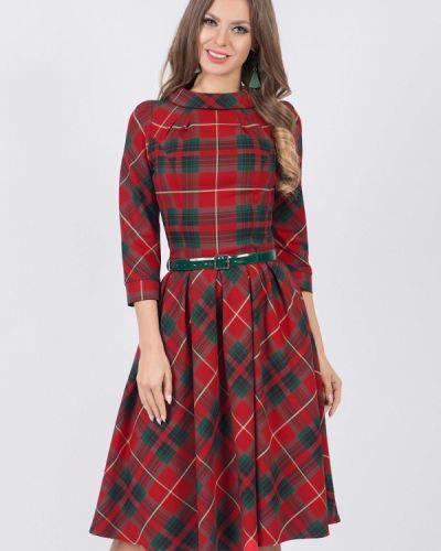 Платье миди красный осеннее Olivegrey