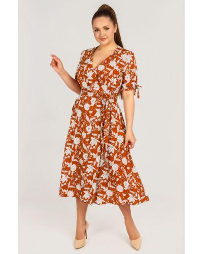Повседневное платье миди с поясом из штапеля Liza Fashion