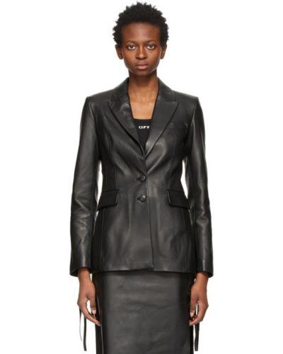 Кожаный черный удлиненный пиджак с подкладкой Off-white