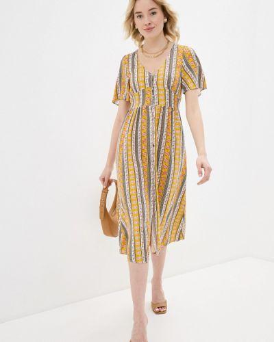 Прямое желтое платье А-силуэта Springfield