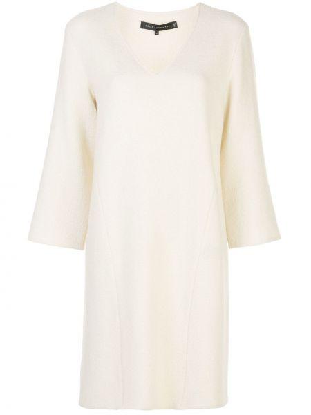 Белое платье мини с V-образным вырезом на молнии трапеция Sally Lapointe