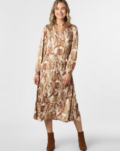 Sukienka midi elegancka - brązowa Mos Mosh