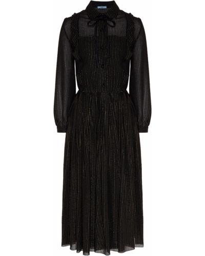 С рукавами пышное черное платье миди Prada