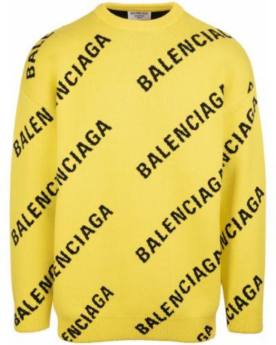 Sweter wełniany - żółty Balenciaga