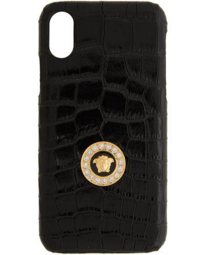 Черная кожаная ключница с тиснением Versace
