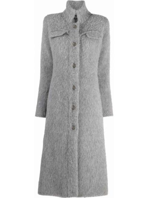 Серое кашемировое пальто Giorgio Armani