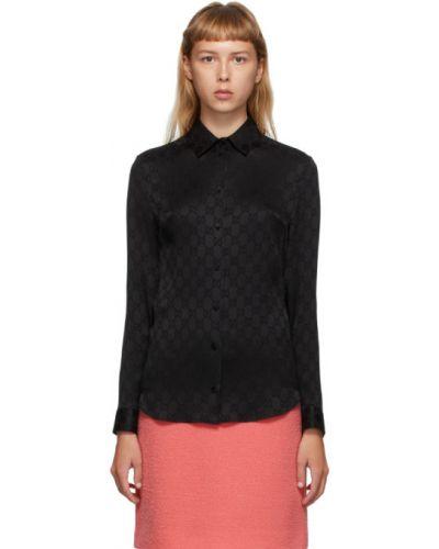 Шелковая черная рубашка с манжетами с воротником Gucci