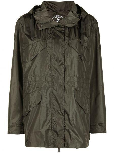 Зеленое длинное пальто с капюшоном на молнии Save The Duck