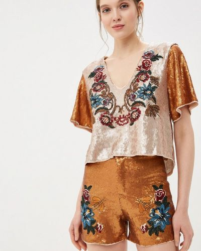 С рукавами блузка золотая Colcci