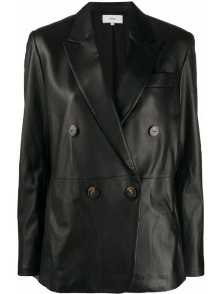Черная кожаная куртка двубортная Vince