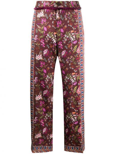 Шелковые коричневые брюки на молнии с бахромой F.r.s. For Restless Sleepers