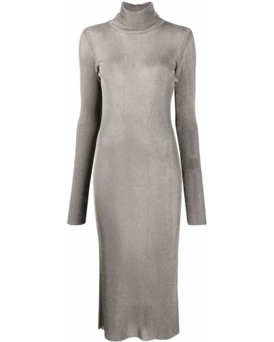 С рукавами серебряное приталенное платье из вискозы Mugler