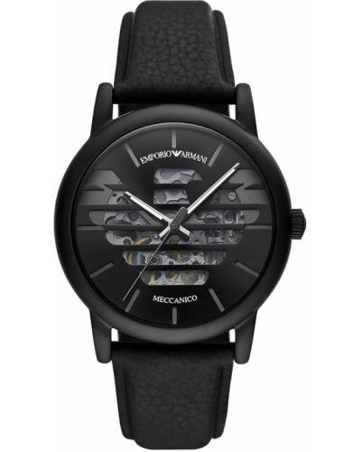 Czarny zegarek kwarcowy skórzany z paskiem Emporio Armani