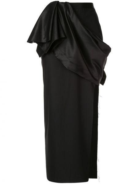 Черная юбка миди с оборками в рубчик Litkovskaya