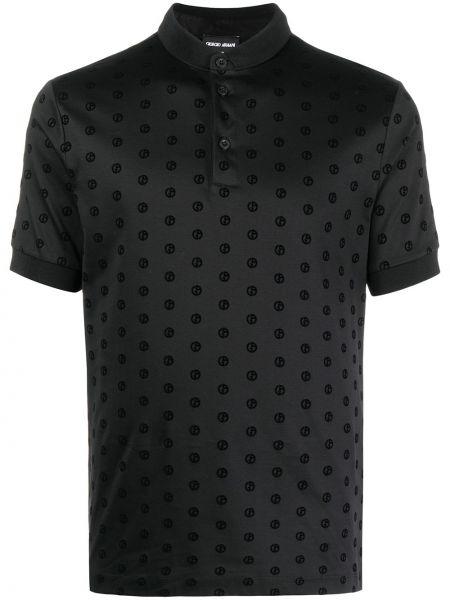 Черная рубашка с короткими рукавами с воротником Giorgio Armani