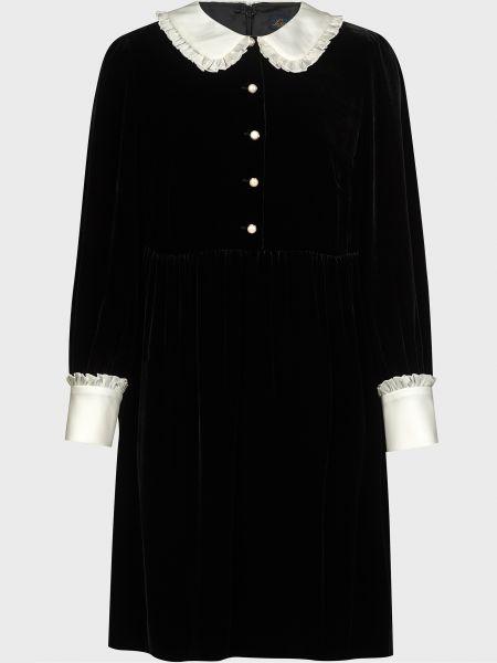 Шелковое черное платье на пуговицах Luisa Spagnoli