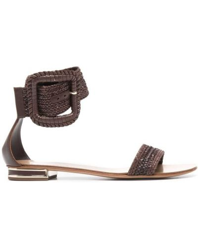 Brązowe sandały skorzane klamry Casadei