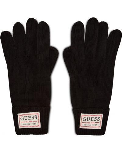 Czarne rękawiczki z akrylu Guess