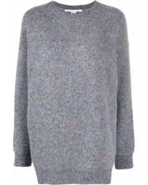 Серый вязаный длинный свитер из альпаки Stella Mccartney