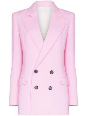 Розовый удлиненный пиджак двубортный с карманами Roland Mouret