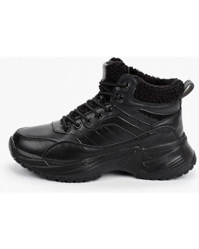 Кожаные черные высокие кроссовки Covani