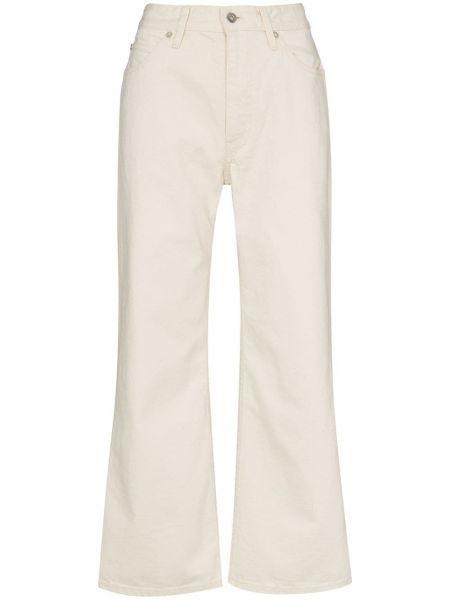 Beżowe jeansy z wysokim stanem z paskiem Jil Sander