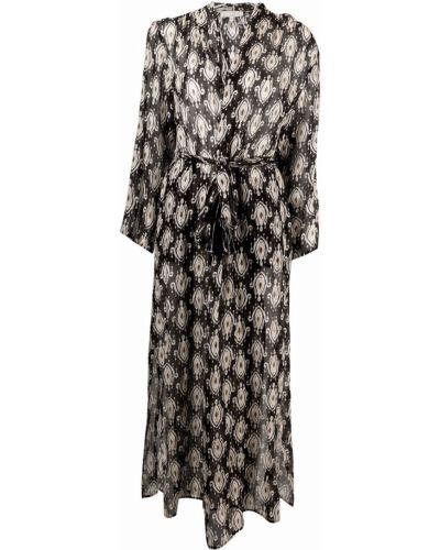 Lniana czarna sukienka długa z długimi rękawami Antonelli