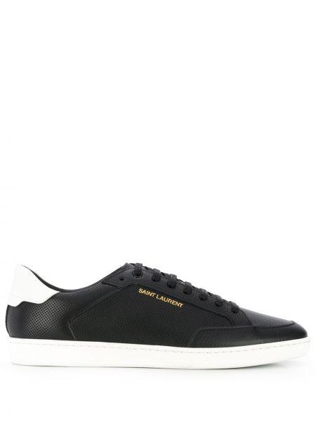 Ażurowy skórzany czarny sneakersy Saint Laurent
