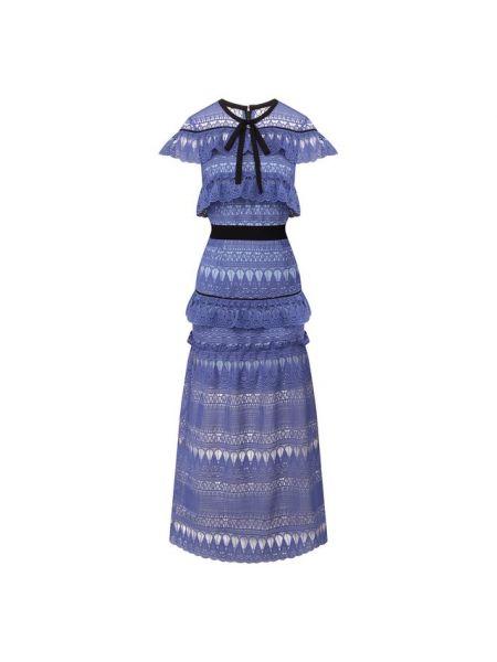 Платье миди каскадное с поясом Self-portrait