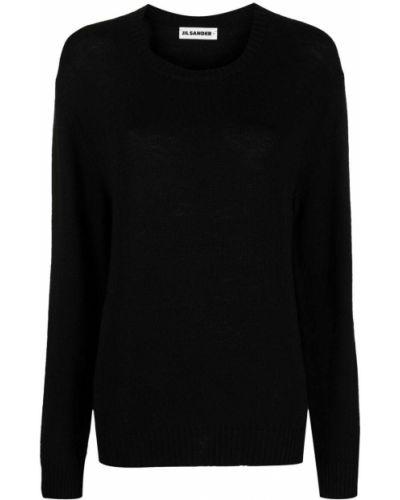 Czarny sweter z okrągłym dekoltem z mankietami z długimi rękawami Jil Sander