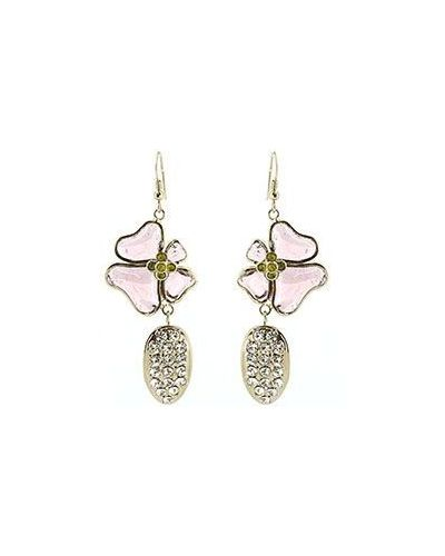Розовые серьги позолоченные Nina Ricci