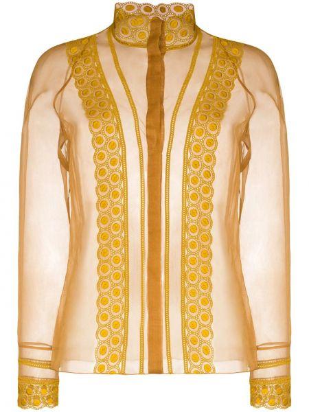 Шелковая блузка прозрачная с высоким воротником Chloé