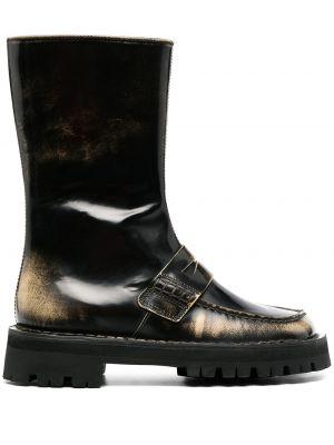Бежевые кожаные ботинки на каблуке Camperlab
