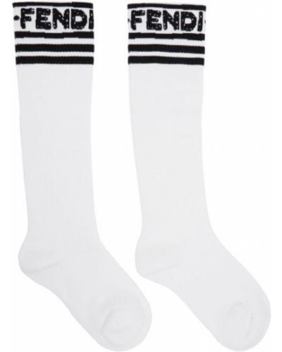 Махровые белые носки высокие в полоску Fendi
