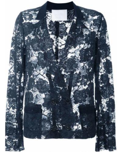 Прямой синий удлиненный пиджак винтажный Lanvin Pre-owned