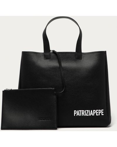 Czarna torebka duża skórzana z printem Patrizia Pepe