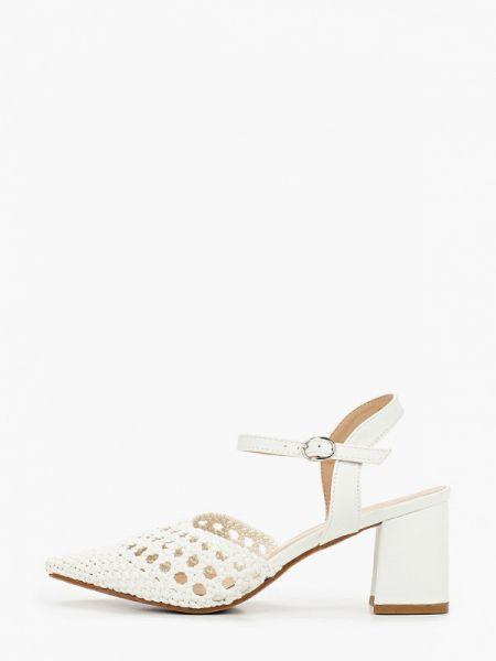 Белые кожаные туфли с открытой пяткой из искусственной кожи Martin Pescatore