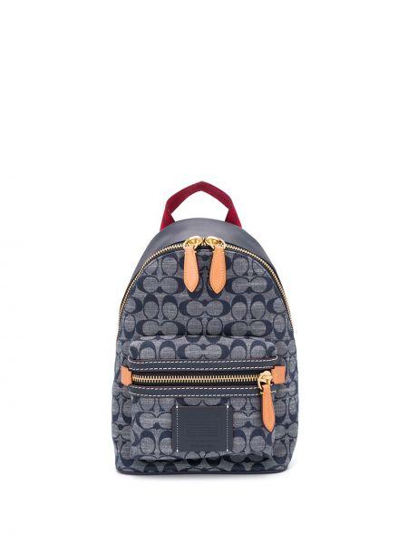 Z paskiem niebieski włókienniczy plecak Coach