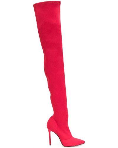 Красные ботфорты кожаные Marc Ellis