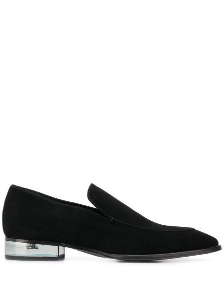 Zamsz czarny loafers na pięcie przezroczysty Giuseppe Zanotti