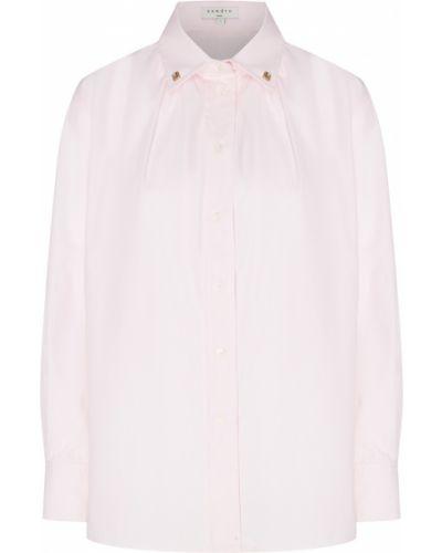 Блузка с длинным рукавом розовая прямая Sandro