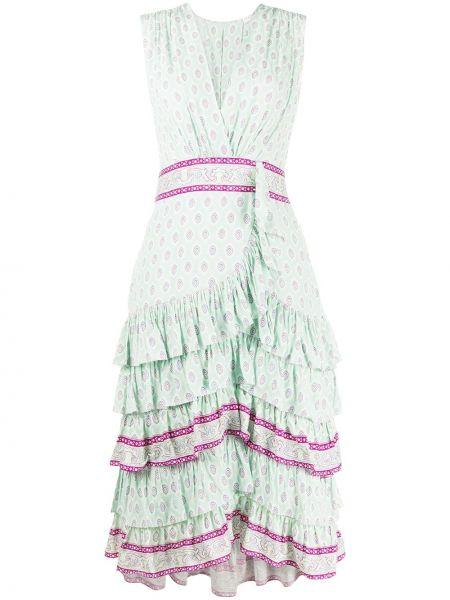 Платье розовое с V-образным вырезом Sandro Paris