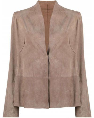 Коричневый кожаный удлиненный пиджак с вырезом S.w.o.r.d 6.6.44