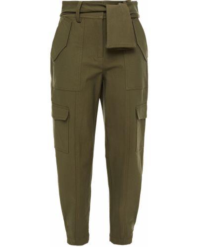 Хлопковые зеленые брюки с накладными карманами Derek Lam 10 Crosby