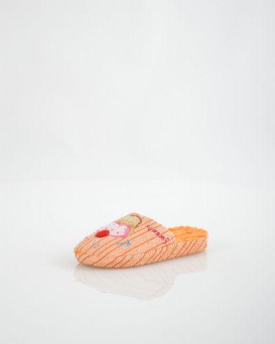 Домашние тапочки на каблуке оранжевый Home Story