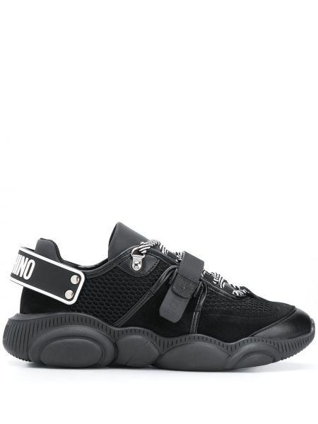 Czarny sneakersy z prawdziwej skóry zasznurować okrągły Moschino
