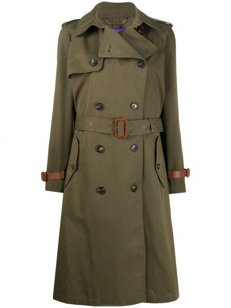 Зеленое кожаное длинное пальто двубортное Ralph Lauren Collection