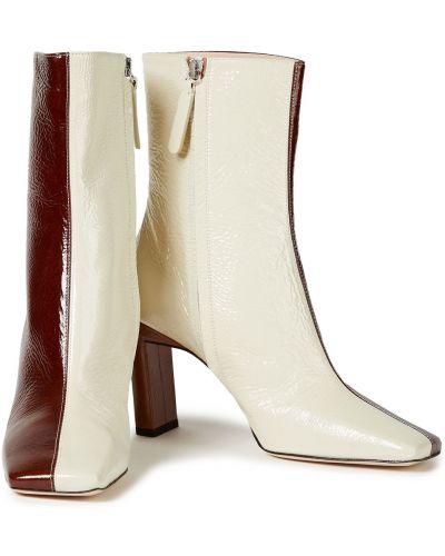 Brązowe ankle boots skorzane na obcasie Wandler